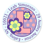 Name Doodles - Small Round Address Labels (Dotty Flower) (106A-C21)
