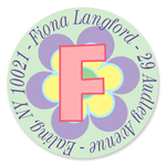 Name Doodles - Small Round Address Labels (Pastel Flower) (106F-C21)