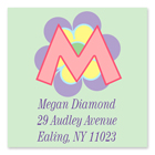 Name Doodles - Square Address Labels (Pastel Flower) (106F-S21)