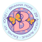 Name Doodles - Small Round Address Labels (Dotty Butterfly) (111A-C21)