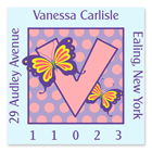 Name Doodles - Square Address Labels (Dotty Butterfly) (111A-S21)