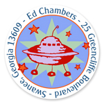 Name Doodles - Small Round Address Labels (Cosmic Spaceship) (GDTA-C14)