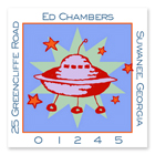 Name Doodles - Square Address Labels (Cosmic Spaceship) (GDTA-S14)
