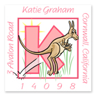 Name Doodles - Square Address Labels (Alpha Animals Pink) (NDGA-S21)
