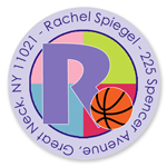 Name Doodles - Small Round Address Labels (Sporty Basketball Lilac) (SBKB-C13A)