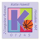 Name Doodles - Square Address Labels (Sporty Basketball Lilac) (SBKB-S13A)