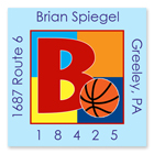 Name Doodles - Square Address Labels (Sporty Basketball Blue) (SBKB-S20A)