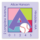 Name Doodles - Square Address Labels (Sporty Baseball Lilac) (SBSB-S13A)