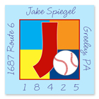 Name Doodles - Square Address Labels (Sporty Baseball Blue) (SBSB-S20A)