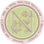 Name Doodles - Round Address Labels/Stickers (Floral Caps Pink)
