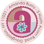 Name Doodles - Round Address Labels/Stickers (Flower Child)