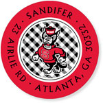 Noteworthy Collections College Address Labels - Gingham Red and Black (North Carolina State University) (CQ-NCS19)