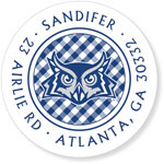 Noteworthy Collections College Address Labels - Gingham White (Rice University) (CQ-RIC06)