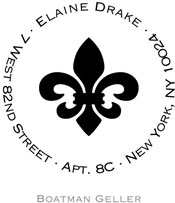 Boatman Geller - Personalized Self-Inking Address Stamper (Fleur De Lis)