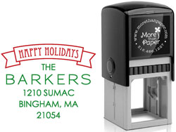 More Than Paper - Custom Self-Inking Stamps (Happy Holidays Banner)