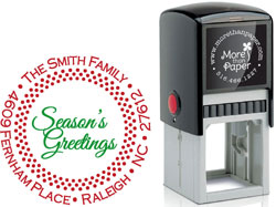 More Than Paper - Custom Self-Inking Stamps (Dotted Border Season's Greetings)