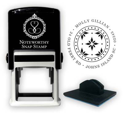 Noteworthy Collections - Custom Self-Inking Address Stampers (Stylized Poinsettia)