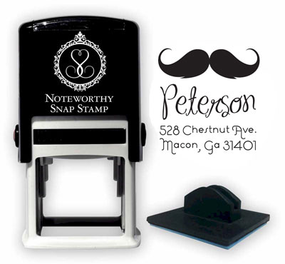 Noteworthy Collections - Custom Self-Inking Address Stampers (Mustache Square) (NS-454)