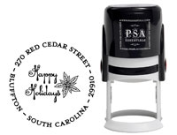 PSA Essentials - Custom Address Stamper (Poinsettia - Holiday)