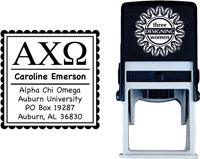 Three Designing Women - Custom Self-Inking Stamps #CS-8001 (Alpha Chi Omega Sorority)