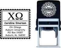 Three Designing Women - Custom Self-Inking Stamps #CS-8001 (Chi Omega Sorority)