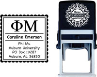 Three Designing Women - Custom Self-Inking Stamps #CS-8001 (Phi Mu Sorority)