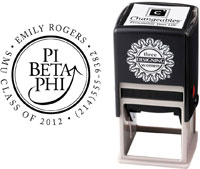 Three Designing Women - Custom Self-Inking Stamps #CS-8002 (Pi Beta Phi Sorority)