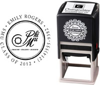 Three Designing Women - Custom Self-Inking Stamps #CS-8002 (Phi Mu Sorority)