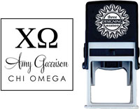 Three Designing Women - Custom Self-Inking Stamps #CS-8003 (Chi Omega Sorority)