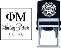 Three Designing Women - Custom Self-Inking Stamps #CS-8003 (Phi Mu Sorority)