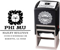 Three Designing Women - Custom Self-Inking Stamps #CS-8004 (Phi Mu Sorority)