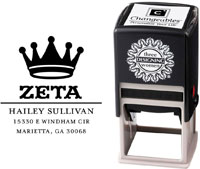 Three Designing Women - Custom Self-Inking Stamps #CS-8004 (Zeta Tau Alpha Sorority)