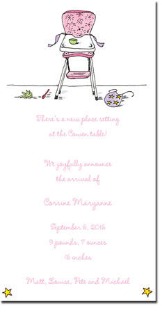 Blue Mug Designs Birth Announcements - Girl High Chair