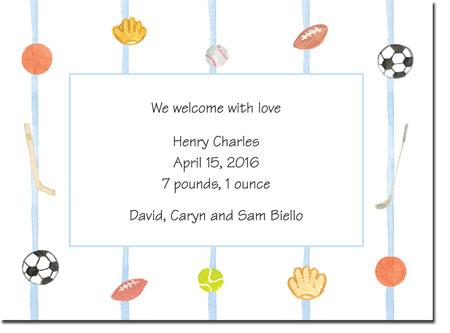 Blue Mug Designs Birth Announcements - Sports Fanatic