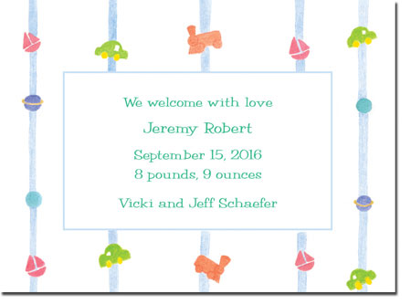 Blue Mug Designs Birth Announcements - Toys And Stripes
