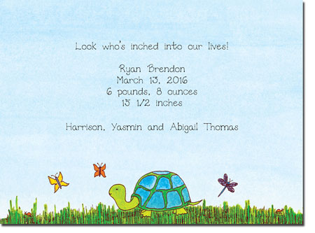 Blue Mug Designs Birth Announcements - Turtle