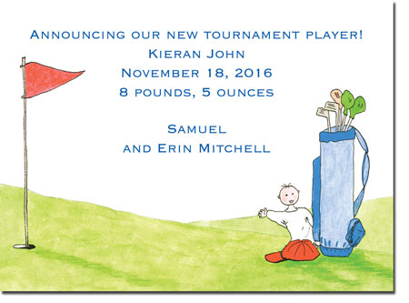 Blue Mug Designs Birth Announcements - Boy Golfer