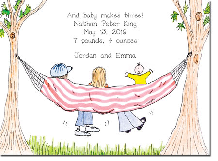 Blue Mug Designs Birth Announcements - Boy Hammock