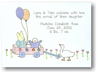 Blue Mug Designs Birth Announcement - Lil' Red Wagon