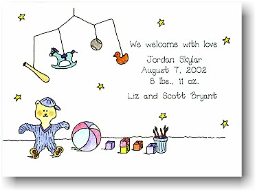 Blue Mug Designs Birth Announcement - Teddy Bear & Mobile