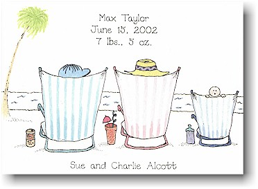 Blue Mug Designs Birth Announcement - Beach Baby Blue
