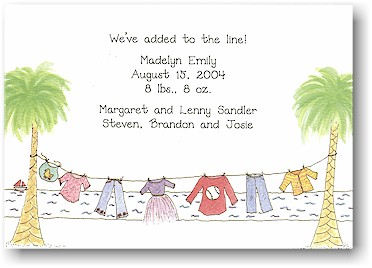 Blue Mug Designs Birth Announcement - Coastline Clothesline
