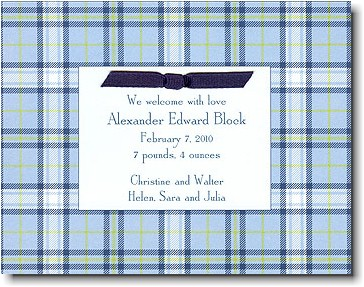 Boatman Geller - Blue Plaid Birth Announcements