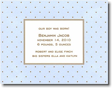 Boatman Geller - Blue with Brown Dot Birth Announcements