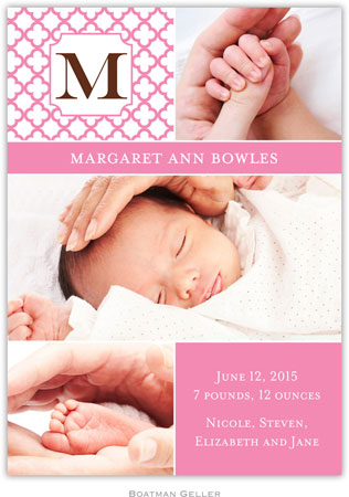 Boatman Geller - Bristol Petite Pink Photo Birth Announcements