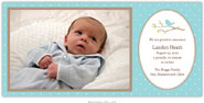 Boatman Geller - Bird on Branch Blue Photo Birth Announcements & Invitations (#19601)