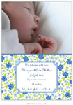 Boatman Geller - Emma Floral Periwinkle Photo Birth Announcements & Invitations (#20602)