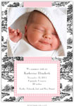 Boatman Geller - Toile Black with Pink Check Photo Birth Announcements & Invitations (#22612)