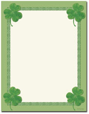 Imprintable Blank Stock - Celtic Clover Letterhead by Great Papers