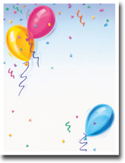 Imprintable Blank Stock - Balloons Letterhead by Masterpiece Studios